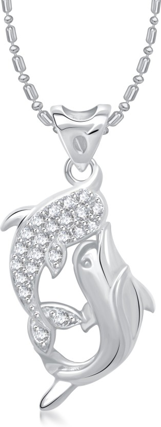 VK Jewels Dual Dolphin Rhodium Diamond Alloy Pendant