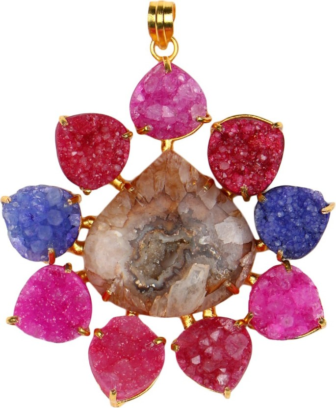 Pink Rose Princess Charm Druzy Stone Copper Pendant