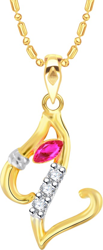 VK Jewels Initial Letter Z Ganesh 18K Yellow Gold Cubic Zirconia Alloy Pendant