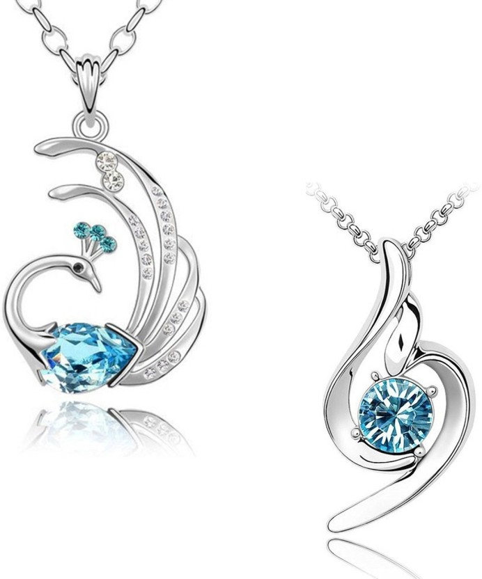 Om Jewells Feathery Peacock and Curvy Combo Rhodium Crystal Alloy Pendant