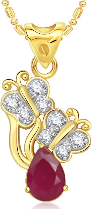 VK Jewels Dual Butterfly 18K Yellow Gold Cubic Zirconia Alloy Pendant