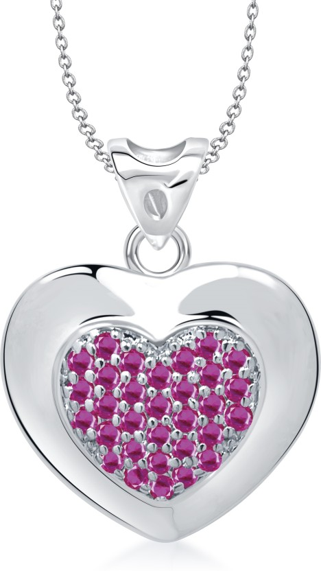 VK Jewels Well-Crafted Heart Shape Rhodium Cubic Zirconia Alloy Pendant