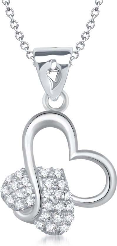 VK Jewels Charming Heart Shape Rhodium Cubic Zirconia Alloy Pendant