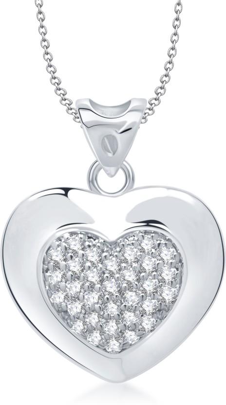 VK Jewels Valentine Days Heart Shape Rhodium Cubic Zirconia Alloy Pendant