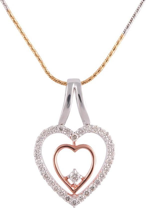 Wite&Gold Duple Tone Heart 18K White Gold, 18K Rose Gold Diamond White Gold, Rose Gold Pendant