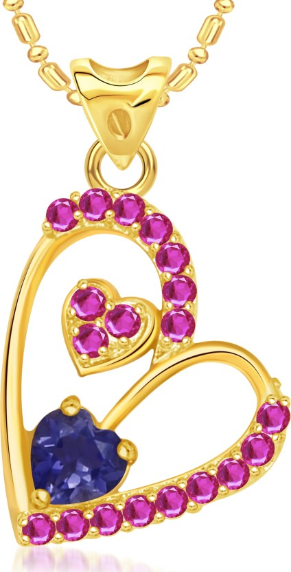 VK Jewels Dual Tiny Hearts Valentine 18K Yellow Gold Cubic Zirconia Alloy Pendant