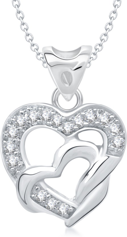 VK Jewels Season of Love Heart Shape Rhodium Cubic Zirconia Alloy Pendant