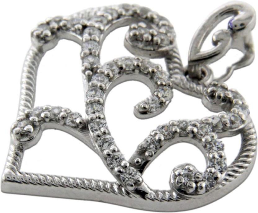 Treta Floral Heart Shape Silver Pendant