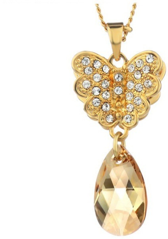 WearYourFashion Love and Heart 14K Yellow Gold Swarovski Crystal Alloy Pendant