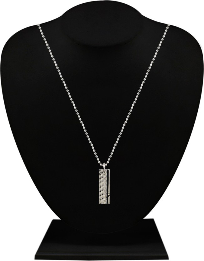 Silverstoli Charming Rectangular Rhodium Alloy Pendant
