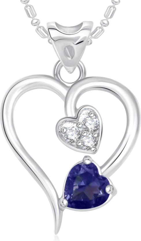 VK Jewels Twice Heart Valentine Rhodium Cubic Zirconia Alloy Pendant