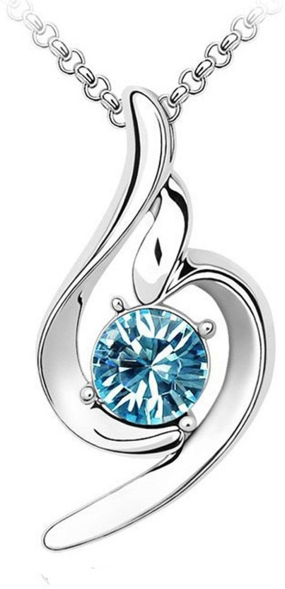 Om Jewells Curvy Blue Solitaire (Made in India) 18K White Gold Crystal Alloy Pendant