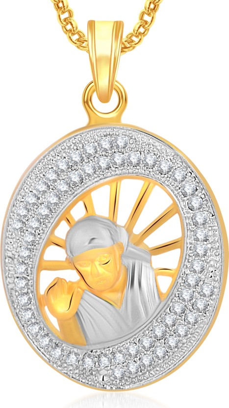 Meenaz Sai Baba God Pendant With Chain For Women And Men Brass Cubic Zirconia, Crystal Alloy Pendant