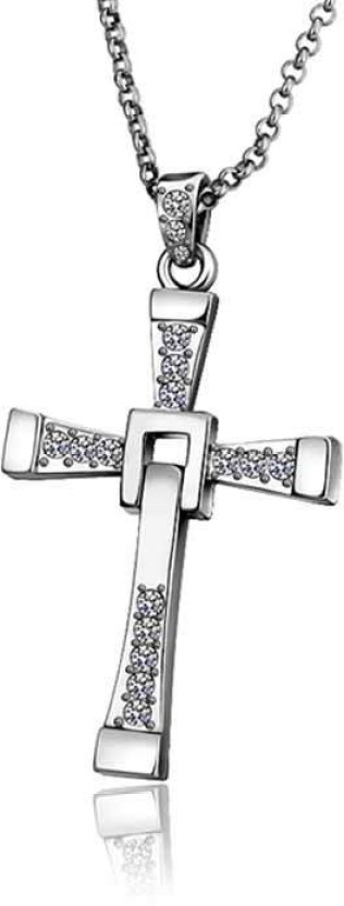 Aaishwarya Fast & Furious Cross Crystal Alloy Pendant