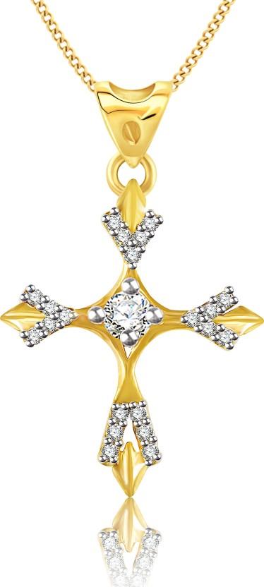 Vidhi Jewels Christian Cross 18K Yellow Gold Cubic Zirconia Alloy, Brass