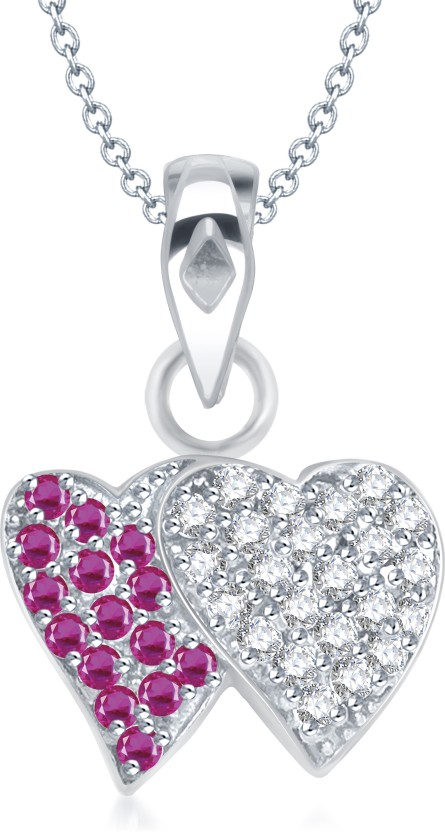 VK Jewels Three Heart Shape Rhodium Cubic Zirconia Alloy Pendant