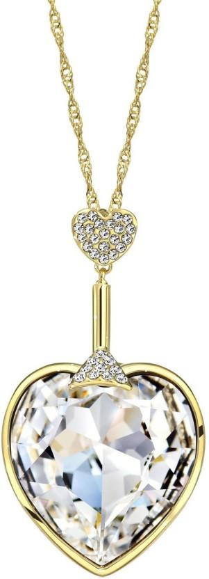 WearYourFashion Golden Wings 14K Yellow Gold Swarovski Crystal Alloy Pendant