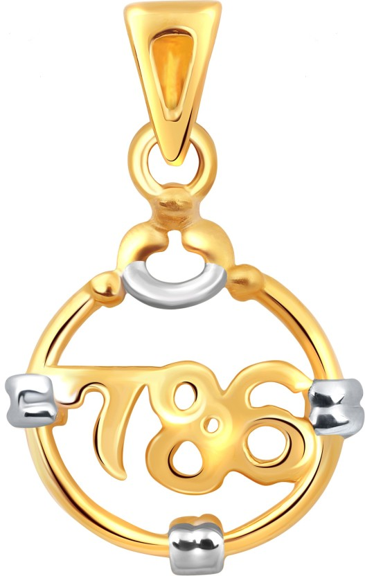 Vighnaharta Miracle Number 786 18K Yellow Gold Cubic Zirconia Alloy Pendant
