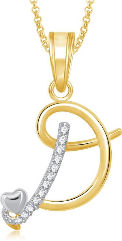 Meenaz D Alphabet 18K Yellow Gold Cubic Zirconia Brass, Alloy Pendant