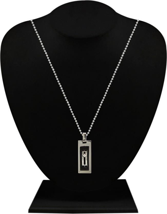 Silverstoli Fancy Rectangular Rhodium Alloy Pendant