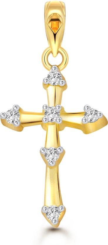 Vighnaharta Jesus Christ Cross 18K Yellow Gold Cubic Zirconia Alloy Pendant