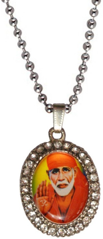 Men Style Silver Plated And Stone Studded Shirdi Sai Baba Alloy Pendant Set