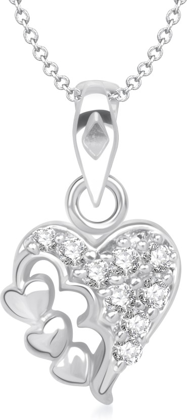 VK Jewels You & Me Heart Shape Rhodium Cubic Zirconia Alloy Pendant