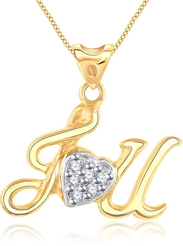 Vidhi Jewels I Love You 18K Yellow Gold Cubic Zirconia Alloy, Brass Pendant