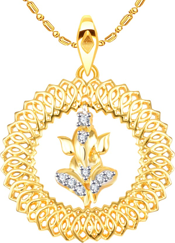 Vidhi Jewels Ganesha 18K Yellow Gold Cubic Zirconia Alloy, Brass Pendant