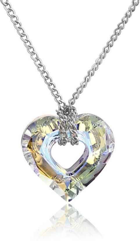 Mahi Miss U Heart Rhodium Swarovski Crystal Brass, Alloy Pendant