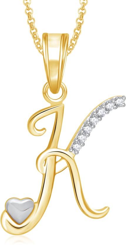 Meenaz K Alphabet Pendant 18K White Gold Cubic Zirconia Brass, Alloy Pendant