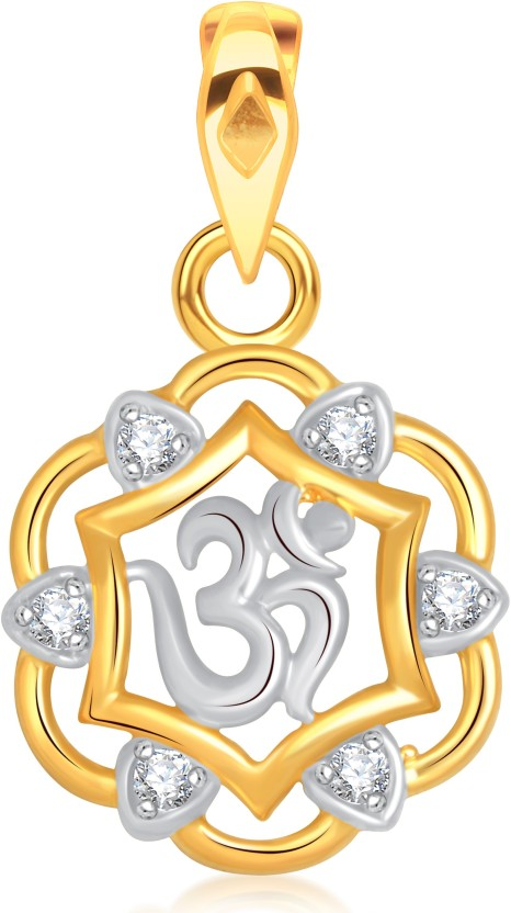 VK Jewels Om 18K Yellow Gold Cubic Zirconia Alloy Pendant