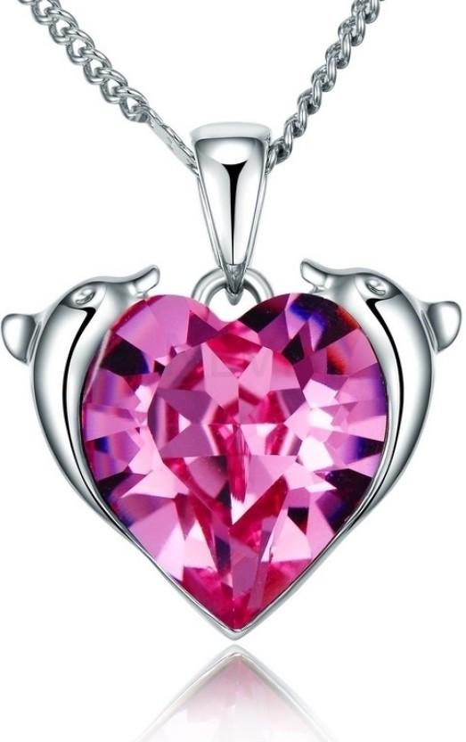 Nevi Pink Heart Rhodium Swarovski Crystal Alloy, Crystal Pendant