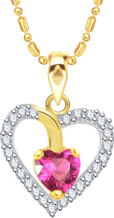 Vidhi Jewels Single Diamond Heart Shaped 18K Yellow Gold Cubic Zirconia Alloy, Brass Pendant