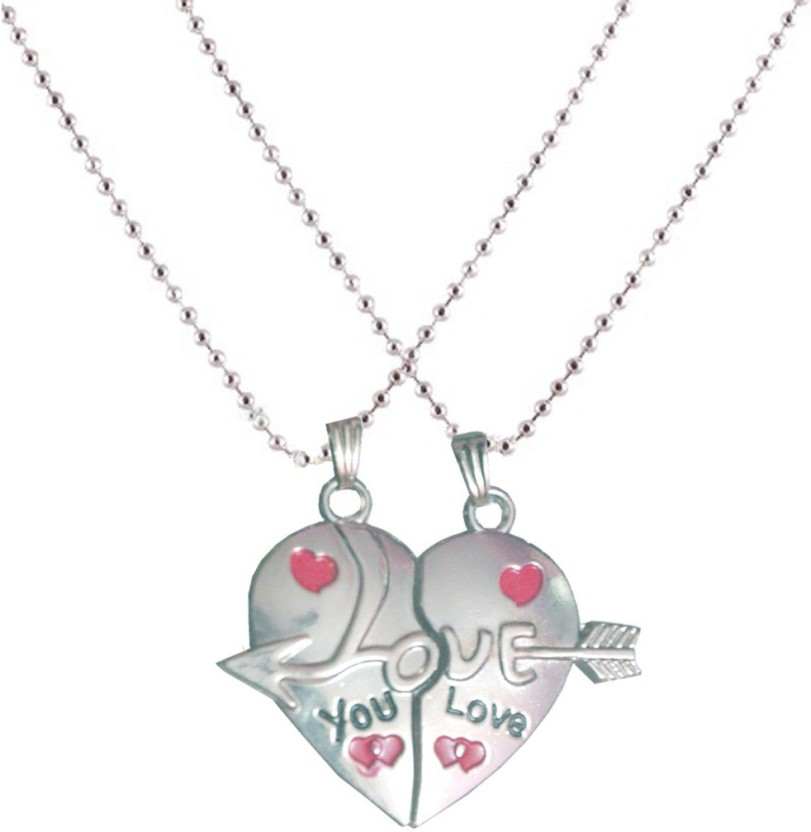Men Style Couple Love You Heart Alloy Pendant Set