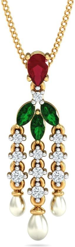 P.N.Gadgil Jewellers 18kt Ruby, Emerald, Pearl, Diamond Yellow Gold Pendant
