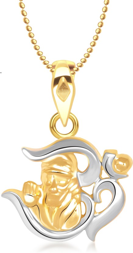 Meenaz Om Sai Baba God Pendant With Chain Gifts Jewellery Set Brass, Yellow Gold Alloy Pendant