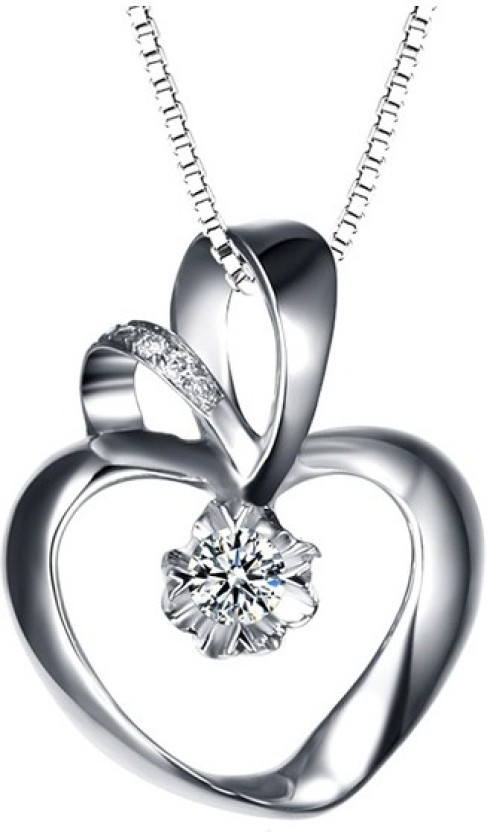 Kataria Jewellers Hearts White Gold plated Diamond Sterling Silver Pendant