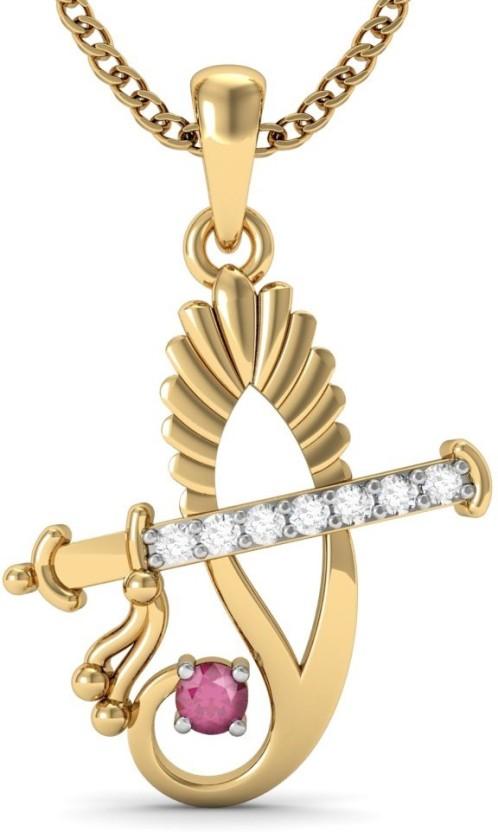 Vachya Light 18kt Diamond, Ruby Yellow Gold Pendant