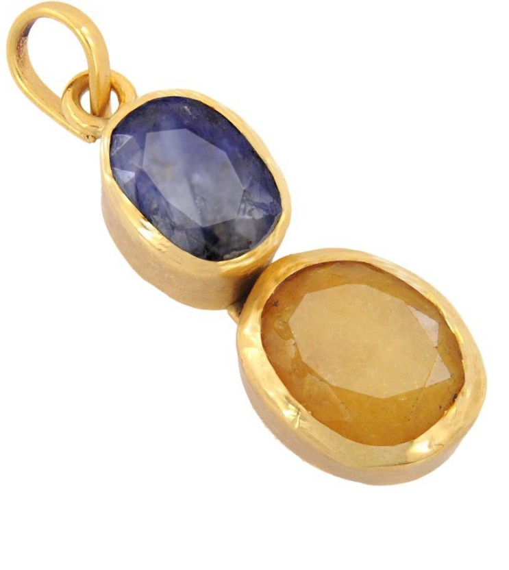 Avaatar 3 Carat Yellow and Blue sapphire Metal Pendant