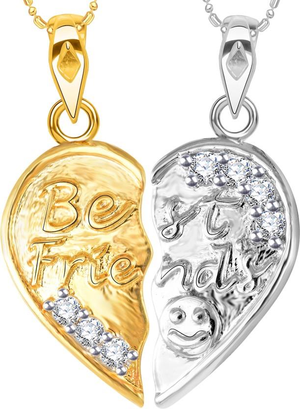 "Vidhi Jewels \""Best Friends\"" 18K Yellow Gold Cubic Zirconia Alloy, Brass Pendant"