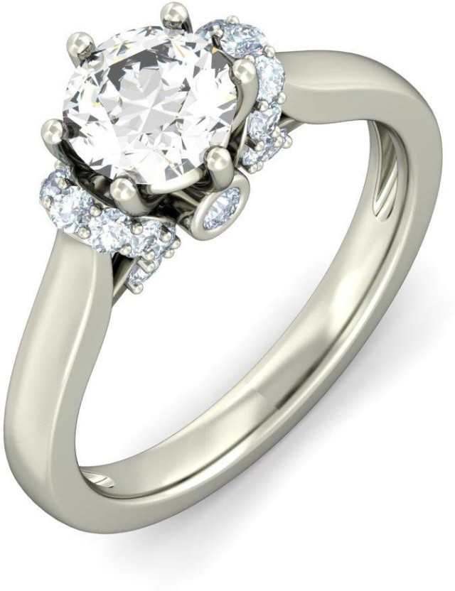 Amogh Jewels Sterling Silver Diamond 14K White Gold Plated Ring