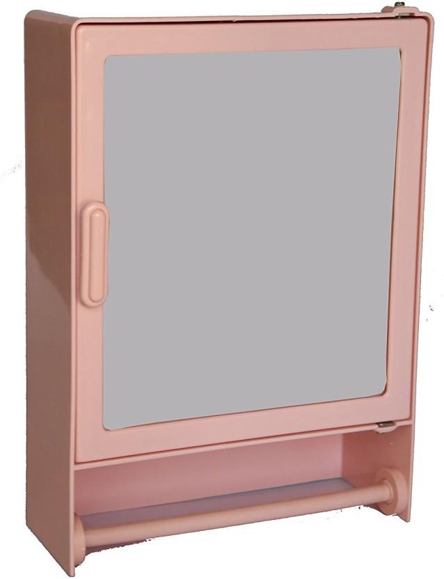 Zoom Zoom Happy Bathroom Mirror Cabinet (Rod) Plastic Mirror Storage Chest (35.56 x 10.6 x 25.4 cm, Blue, Pink, White, Ivory, Magenta, A.Blue, Z113CR) (PINK) Plastic Wall Shelf