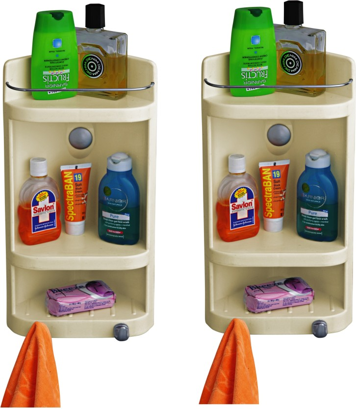Cipla Plast Caddy Small Corner Cabinet - Ivory (Set of 2) Polypropylene Wall Shelf