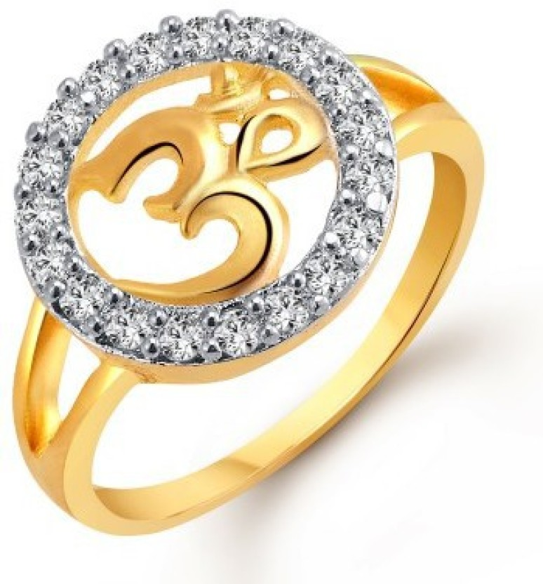 VK Jewels Om Alloy Cubic Zirconia 18K Yellow Gold Plated Ring