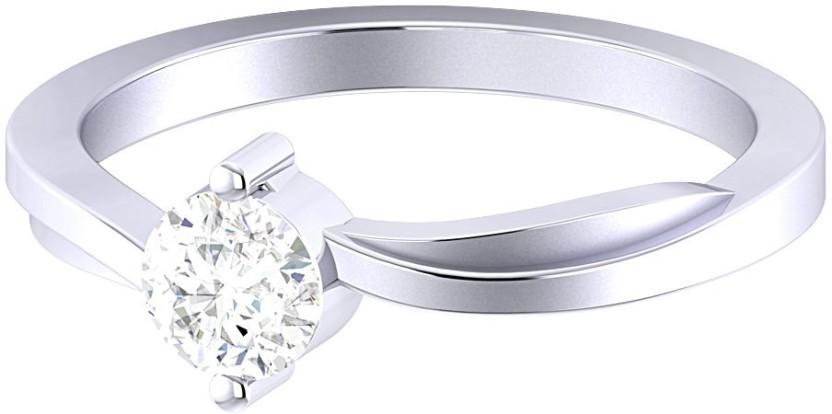 Voylla Precious Classic Plain Sterling Silver Cubic Zirconia Rhodium Plated Ring