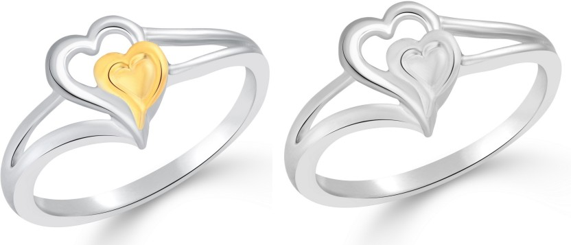 Classic Heart in Heart Selfie for Women [CJ2015FRSLF10] Alloy Cubic Zirconia Yellow Gold, White Gold Plated Ring