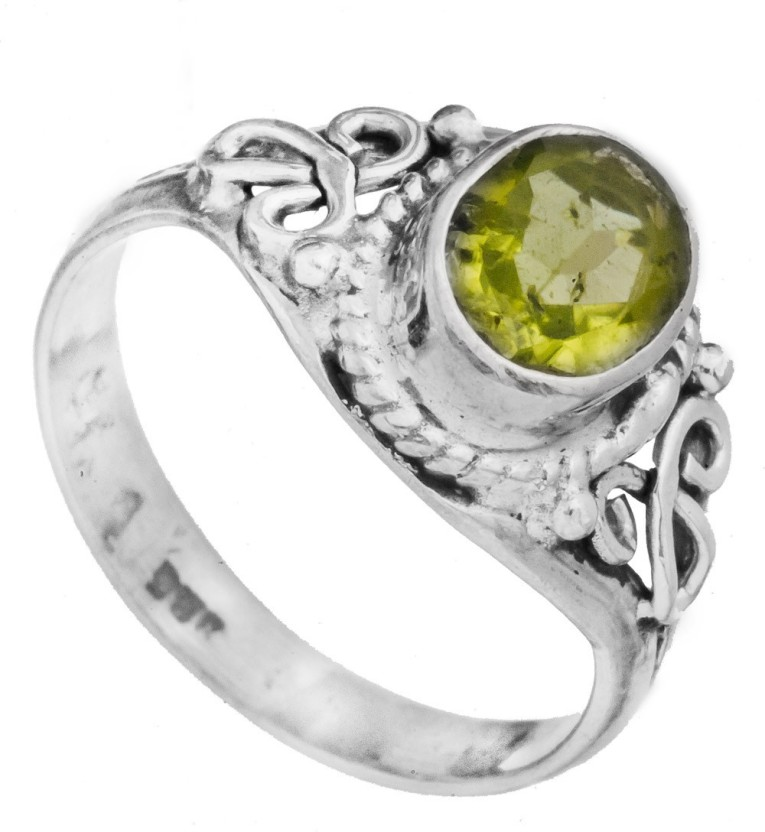 Exotic India Faceted Sterling Silver Peridot Ring