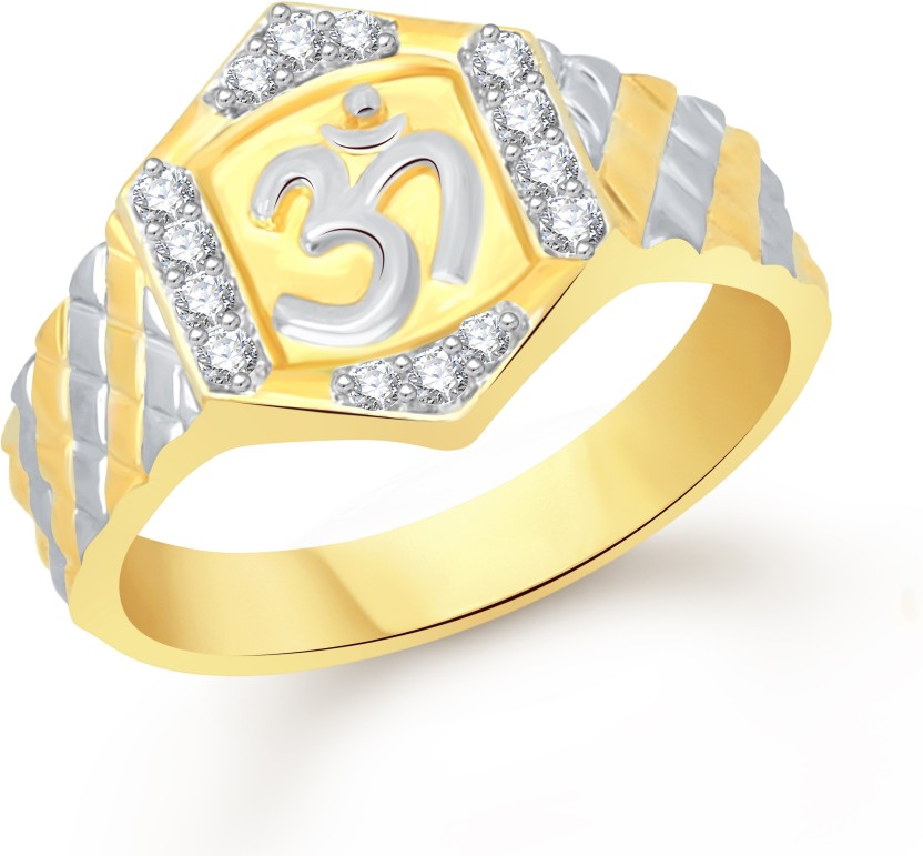 VK Jewels The Om Alloy Cubic Zirconia 18K Yellow Gold Plated Ring