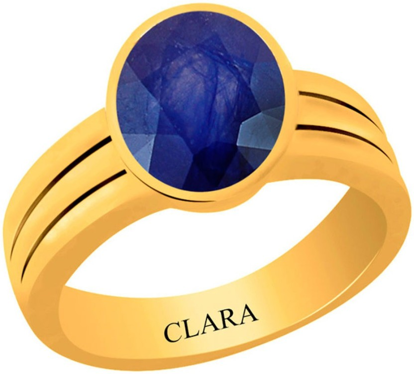Clara Blue Sapphire Neelam 4.8 carat or 5.25ratti Panchdhatu Silver Sapphire Yellow Gold Plated Ring